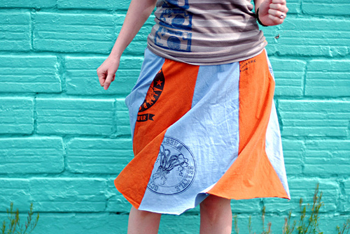 skirt made of recycled tshirts